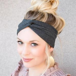 Female Cotton Hair Band Elastic Ribbed Cotton Twist Headband