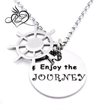 Enjoy The Journey Pendant Inspirational Quotes Necklace/Bracelet Expandable Bangles Encouragement Gift for Teen