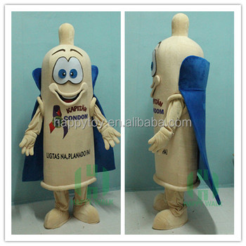 hot sale condom mascot costume custom halloween for adults with cloak for party promotion halloween