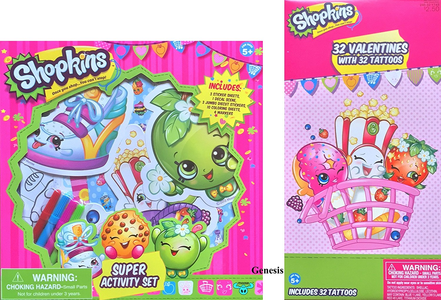 Shopkins Children's Valentines With Shopkins Super Activity Set Includes Sticker Sheets , Decal Scene, Jumbo Diecut Stickers, Coloring Sheets And Markers