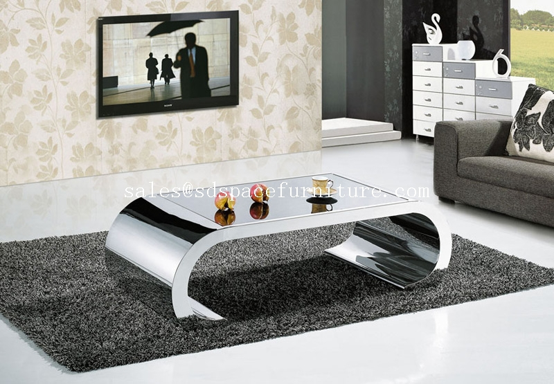 stainless steel glass center table coffee table for living. Black Bedroom Furniture Sets. Home Design Ideas