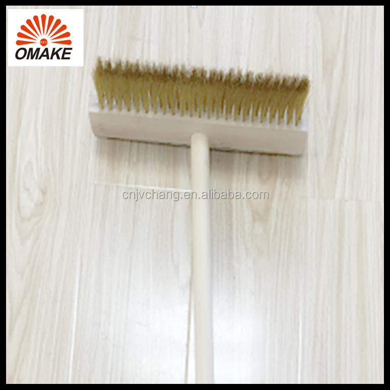 wholesale price durable oven clean tools customized wooden handle brass wire brush