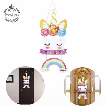 Glitter Unicorn home Door Sign Hanging Gift Magical Rainbow for  Unicorn Birthday Party Decoration Accessories