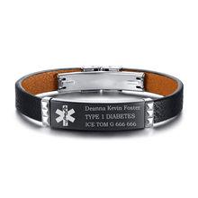 Персональный черный кожаный браслет из геруина Бесплатная гравировка медицинский оповещение ID тег диабет аварийный(Китай)
