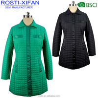 Slim Ladies' Long Padding Coats for Spring and Fall