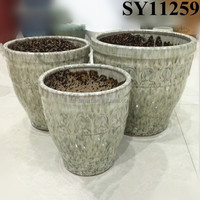 Gray garden glazed outdoor flower pot wholesale