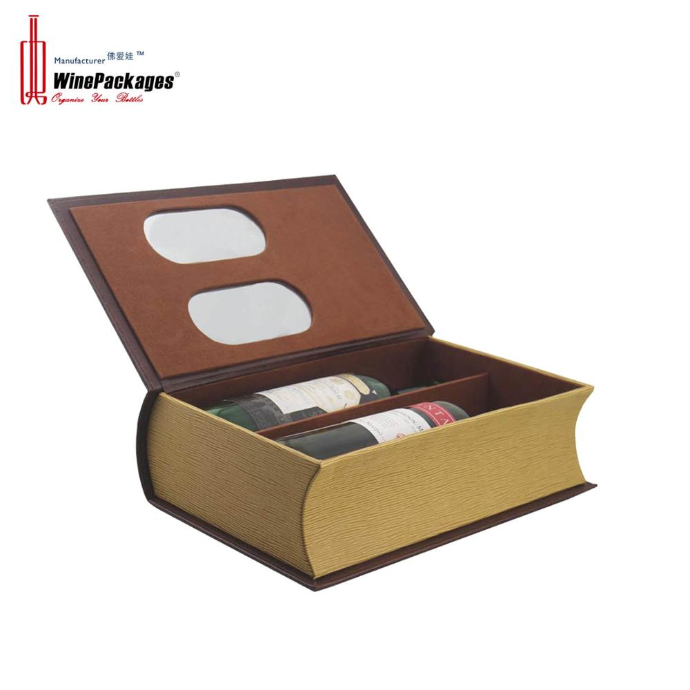 Wholesale Cheap 2 Bottle Leather Paper Wine Boxes Packing Custom Logo Luxury Christmas Small Book Shaped Leather Wine Gift Box Buy Gift Box Wine