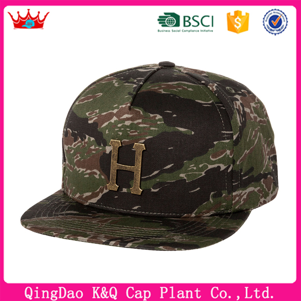 2016 wholesale China OEM New design army cap letter with H camouflage hat