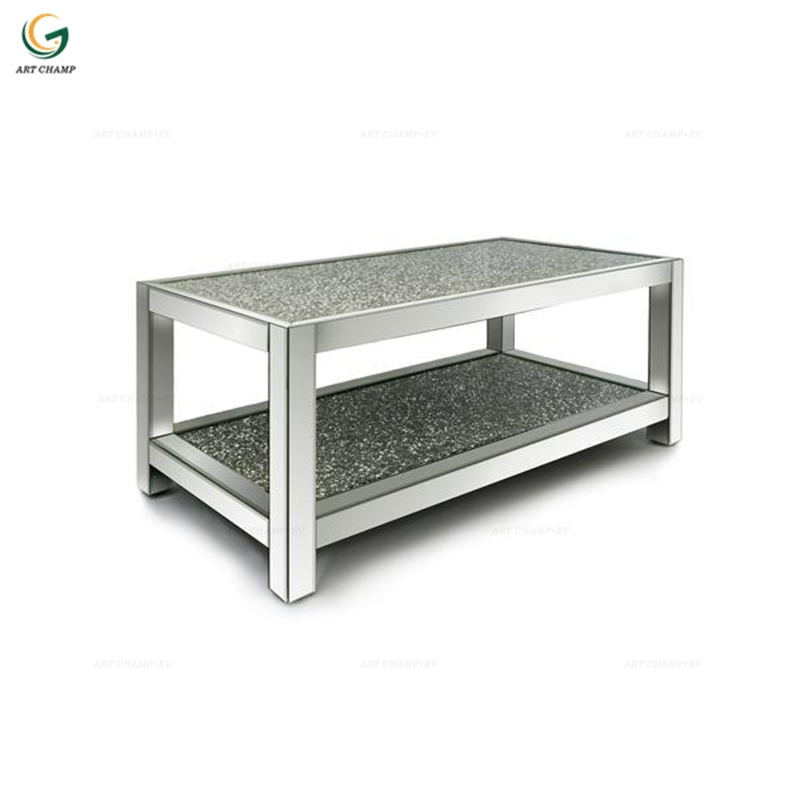 Sparkly Crushed Diamond Salontafel met spiegelglas in spiegelglas