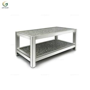 Sparkly Crushed Diamond Living Room Furniture Mirrored Glass Coffee Table