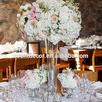 Tall long stemmed wedding flower glass vase centerpiece for decoration table