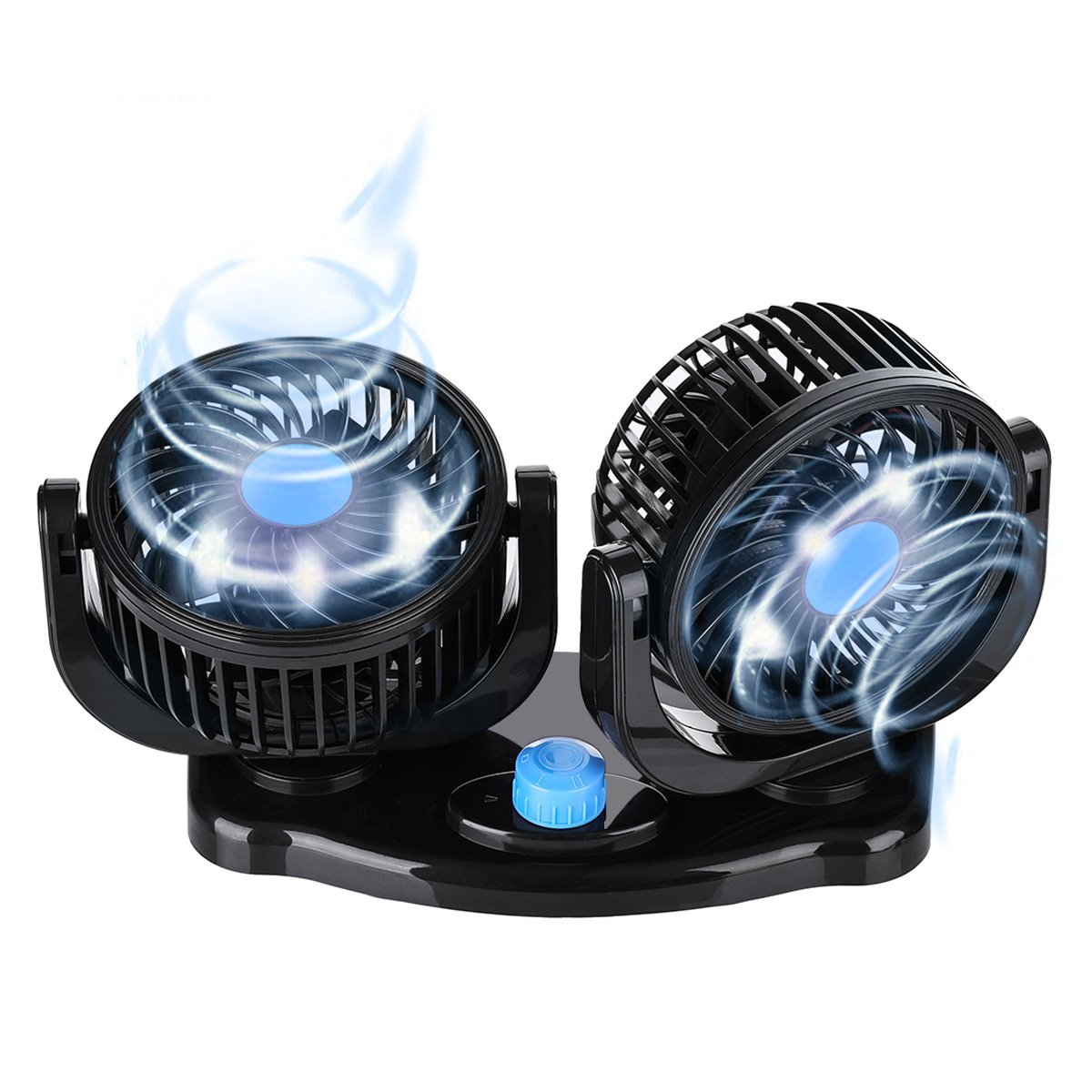 Dual Head 2 Speed 12V Cooling Air Circulator 360 Degree Rotatable Auto Fan Electric Car Fan for Home Sedan SUV//RV//Boat//Auto Vehicles