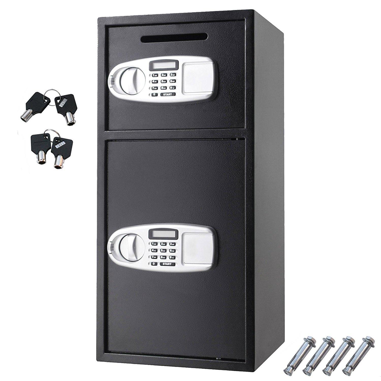 Digital Double Door Safe Security Cash Money Jewelry Gun Book Deposit Drop Slot Lock Box w/ Electronic Combination Lock Keys | Cabinet Safe | Cash Drop Safe | Deposit Safe