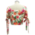 Custom New Design Summer Floral Print Button Up Crop Tops For Women