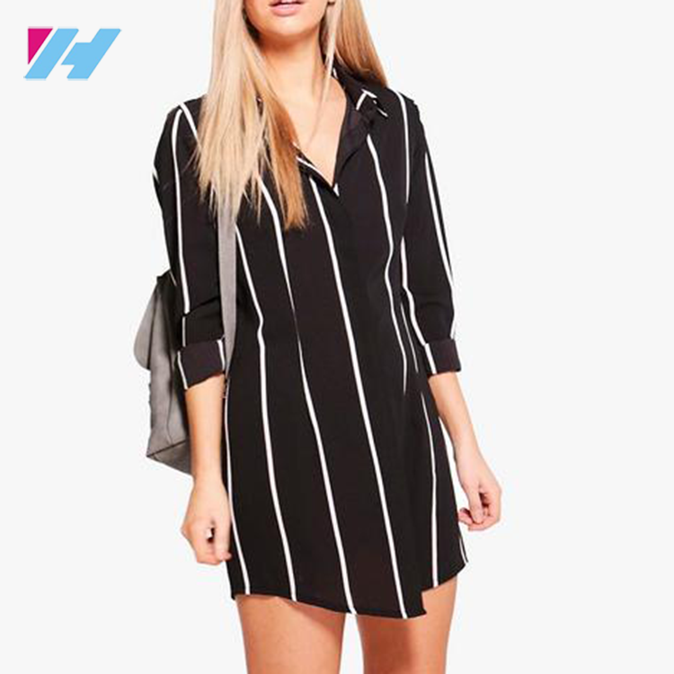Summer new fashion women's clothing dress black and white striped shirt collar show slender waist dress
