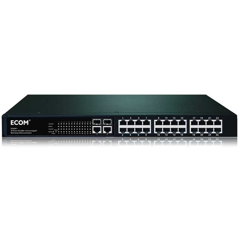 TX- 24 Based Ports 10/100M +2 Gigabit RJ45 port switch +2 SFP Network Optical POE Switch 24V Ethernet Switch 24V