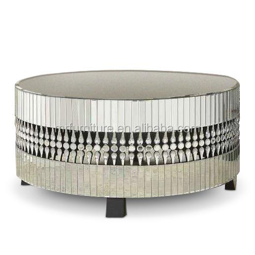Modern Crystal Diamond Mirrored Round Coffee Table For Living Room Furniture Style