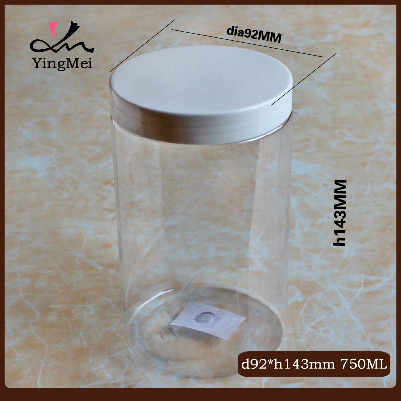 750ml Cosmetic PET clear jar for candy
