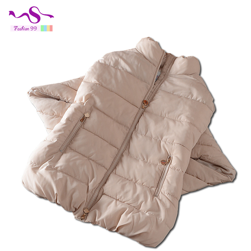 Cloak cotton down jacket 2015 winter women new thick standing collar three quarter sleeve loose vintage female's parkas YT155