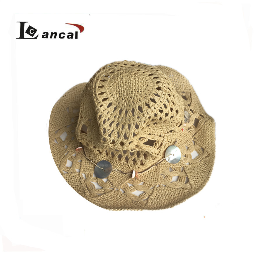 2017 wholesale ladies natural hollow straw trilby fedora hat , shell band stetson