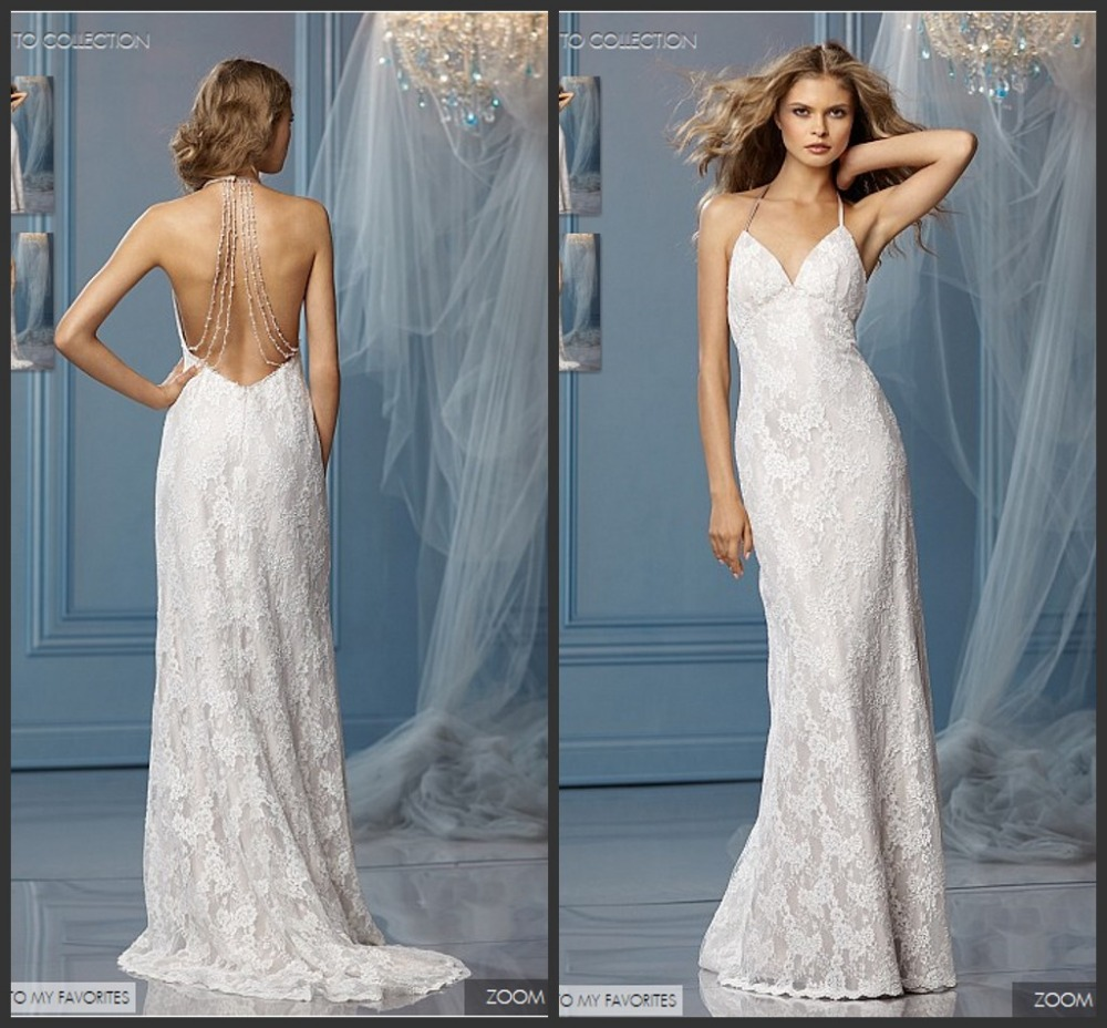 2014 Halter Top Beach Backless Sexy Wedding Dress With