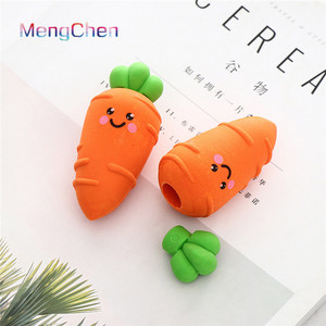 Best selling Korean list of office stationery items custom Novelty 3D cute carrots shaped small pencil erasers with logo 006