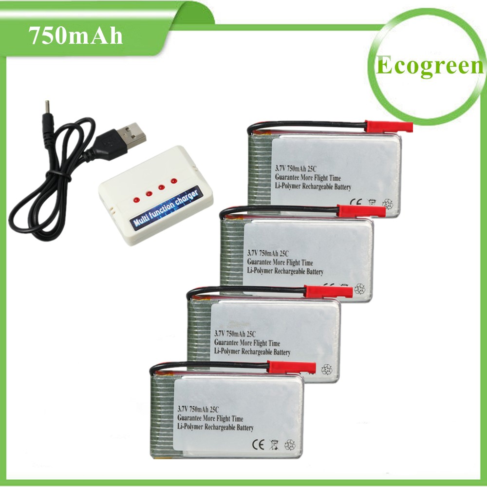 4pcs 3.7V 750mAh 25C Rechargeable Lipo Battery with 4 in 1 Battery Charger for MJX X400 X800 Sky Viper S670,Holy Stone HS110