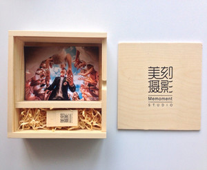 Storage Photos & U Disk Square Wooden Box Two Grids Studio Special Packing Box For 6 Inch Photos Gift Can Be Customized Logo