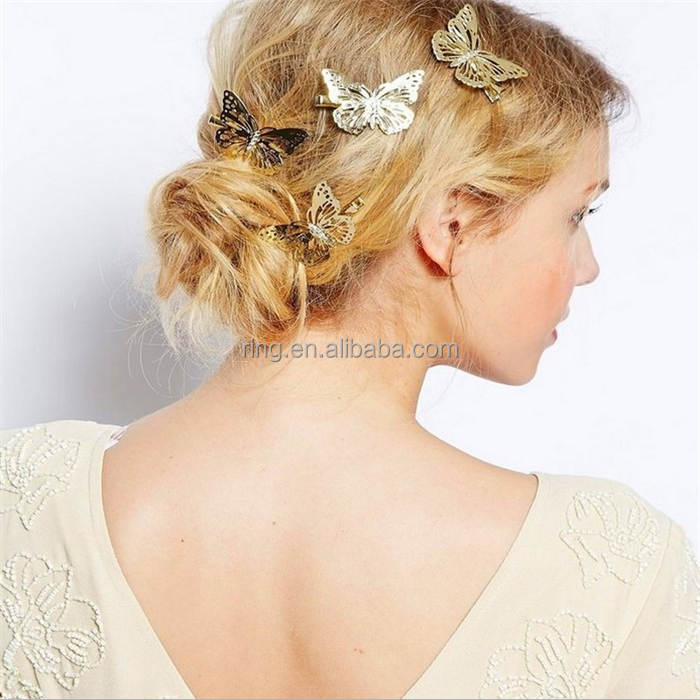 Hairpins for Women Hollow European USA Style Retro Fashion Butterfly Jewelry hairpins Hair Accessories Wholesale