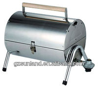 Double barrel bbq stainless steel gas grill