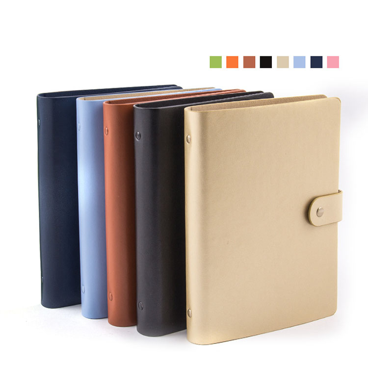 A5 size PU soft leather cover loose leaf spiral 6 ring binder for notebook