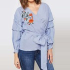 Ali baba China Online Shopping Striped Embroidered Wrap Front Puffed Sleeve Top