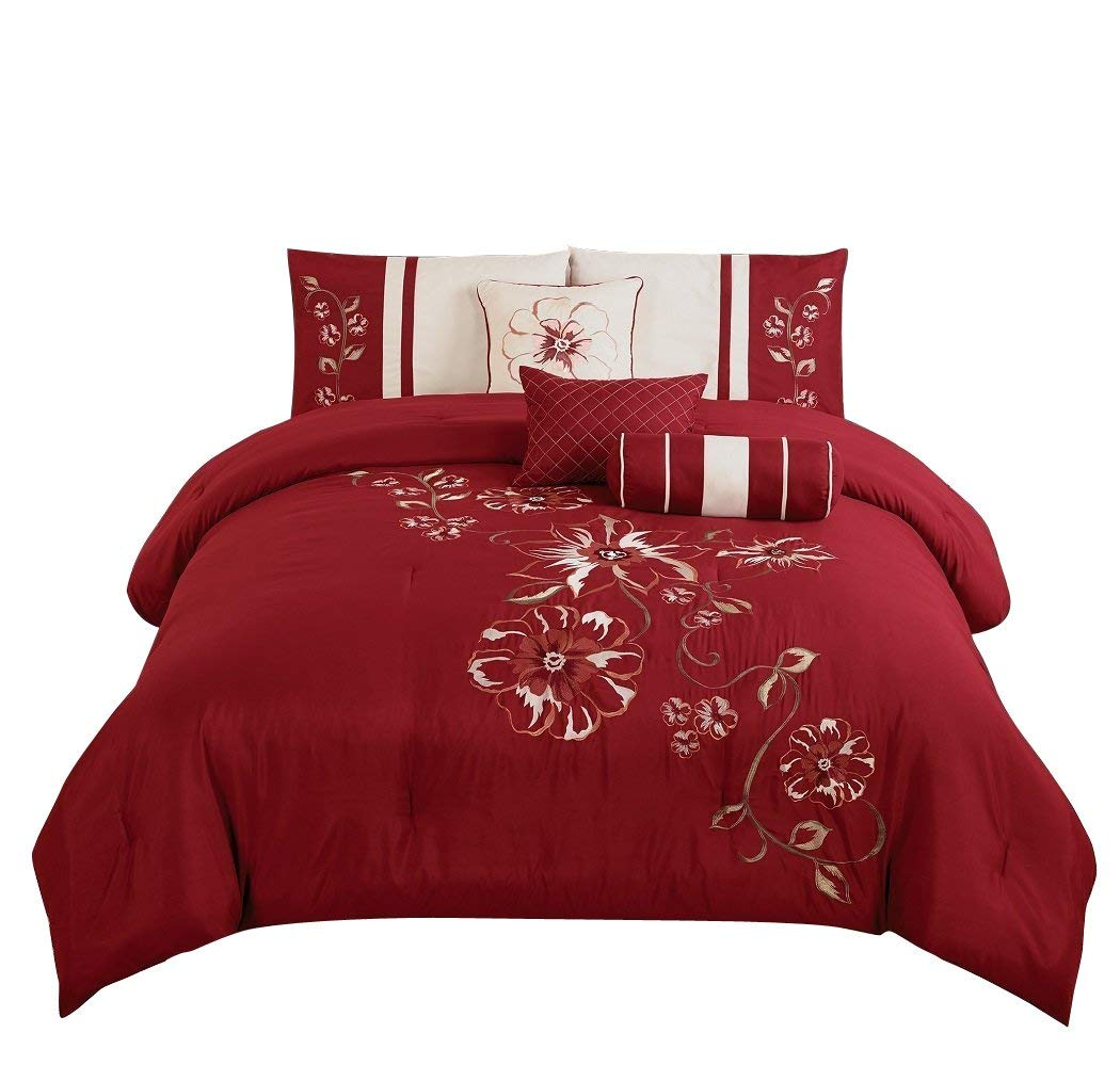Chezmoi Collection 7-Piece Luxurious Floral Branch Embroidered Comforter Set