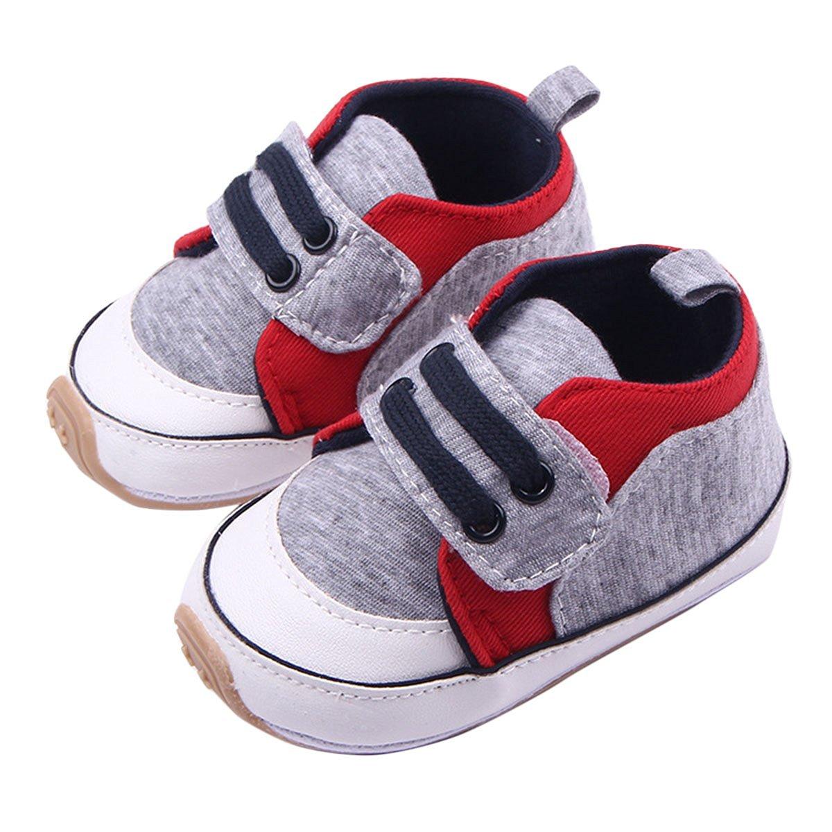 Happy Cherry Baby Boy Prewalker Infant Non-slip Fashion Sneaker Walking Shoes(Gray,12cm)