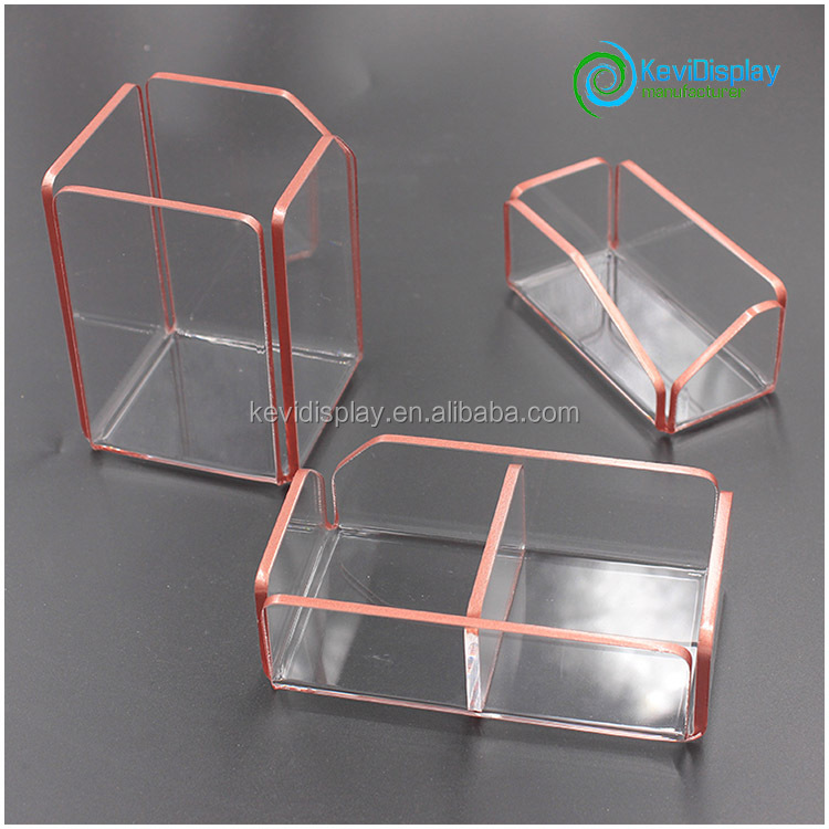 Durable Acrylic Office Desk Organizer With Rrregular Edge In Rose Gold