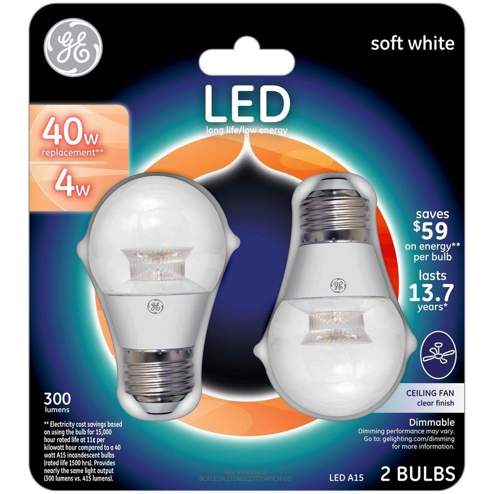 GE LED 40W Equivalent Soft White A15 Dimmable Clear Finish LED Light Bulb