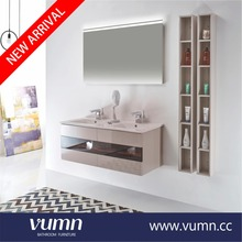 2017 modern double white sink solid wood bathroom vanity