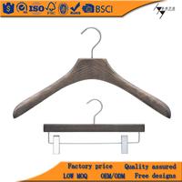 Special wooden suit wooden hanger with adjustable metal clip