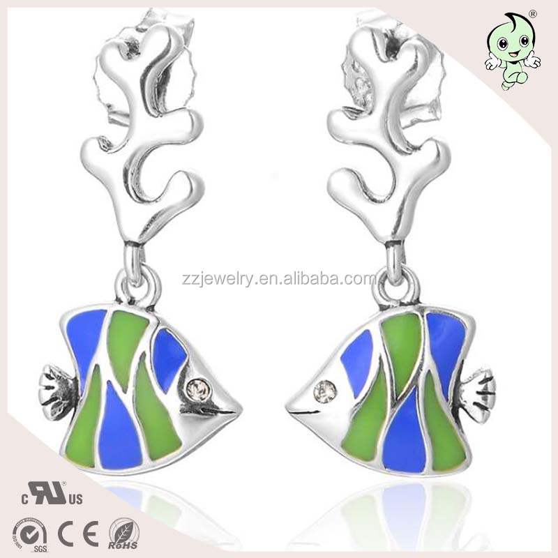 Elegant Enamel Jewelry Fish Design Drop Style 925 Sterling Silver Earring