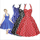 Summer Style Retro Wholesale Custom Vestidos Woman Vintage Dress Big Swing Polka Dot Backless Rockabilly Plus Size Prom Dresses