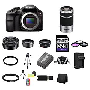 Sony A3000, ILCE-3000, ILCE-3000LB, 20. 1MP Interchangeable Lens Camera Black (Body) with Sony 16-50mm f/3.5-5.6 OSS Alpha E-mount Retractable Zoom Lens SELP1650 and Sony E 55-210mm F4.5-6.3 Lens for Sony NEX Cameras SEL55210 32GB Package 4