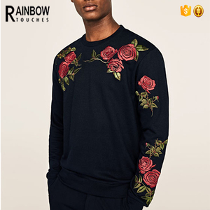 Hot Selling Pullover Leisure Men Black Roses Embroidery Sweatshirt