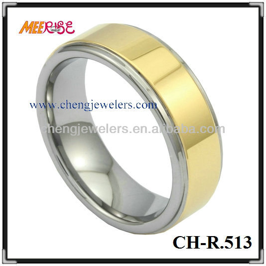 18K ip gold plated tungsten rings center high polished step surface