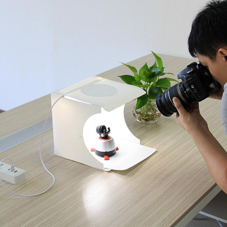 Mini Studio Lightbox with Built-in LED Lights,Portable Mini Led Photo Studio Box