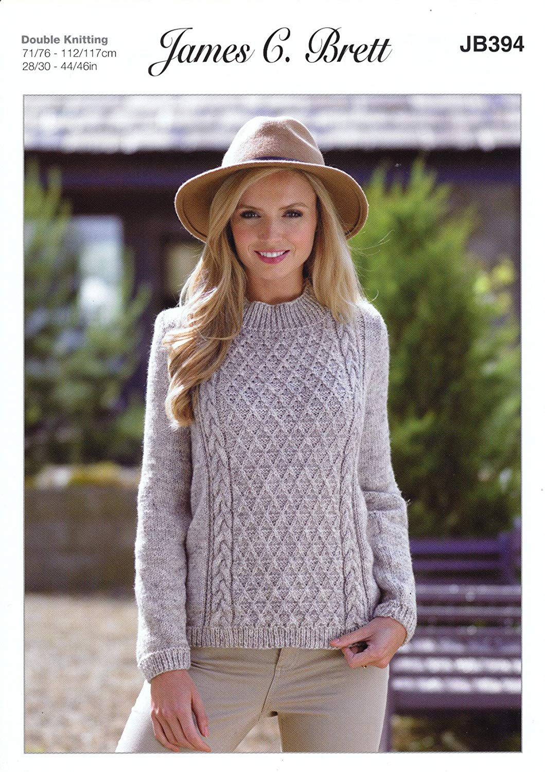 86b4ef7a6c308 Get Quotations · James Brett Double Knitting Pattern Womens Long Sleeved  Cable Detail Sweater Misty DK (JB394)