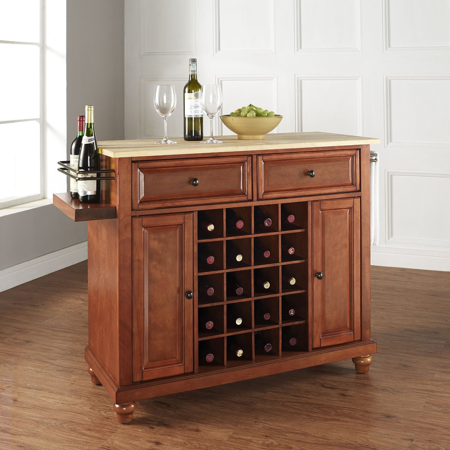 Crosley KF31001DCH Cambridge Natural Wood Top Wine Island, Classic Cherry Red