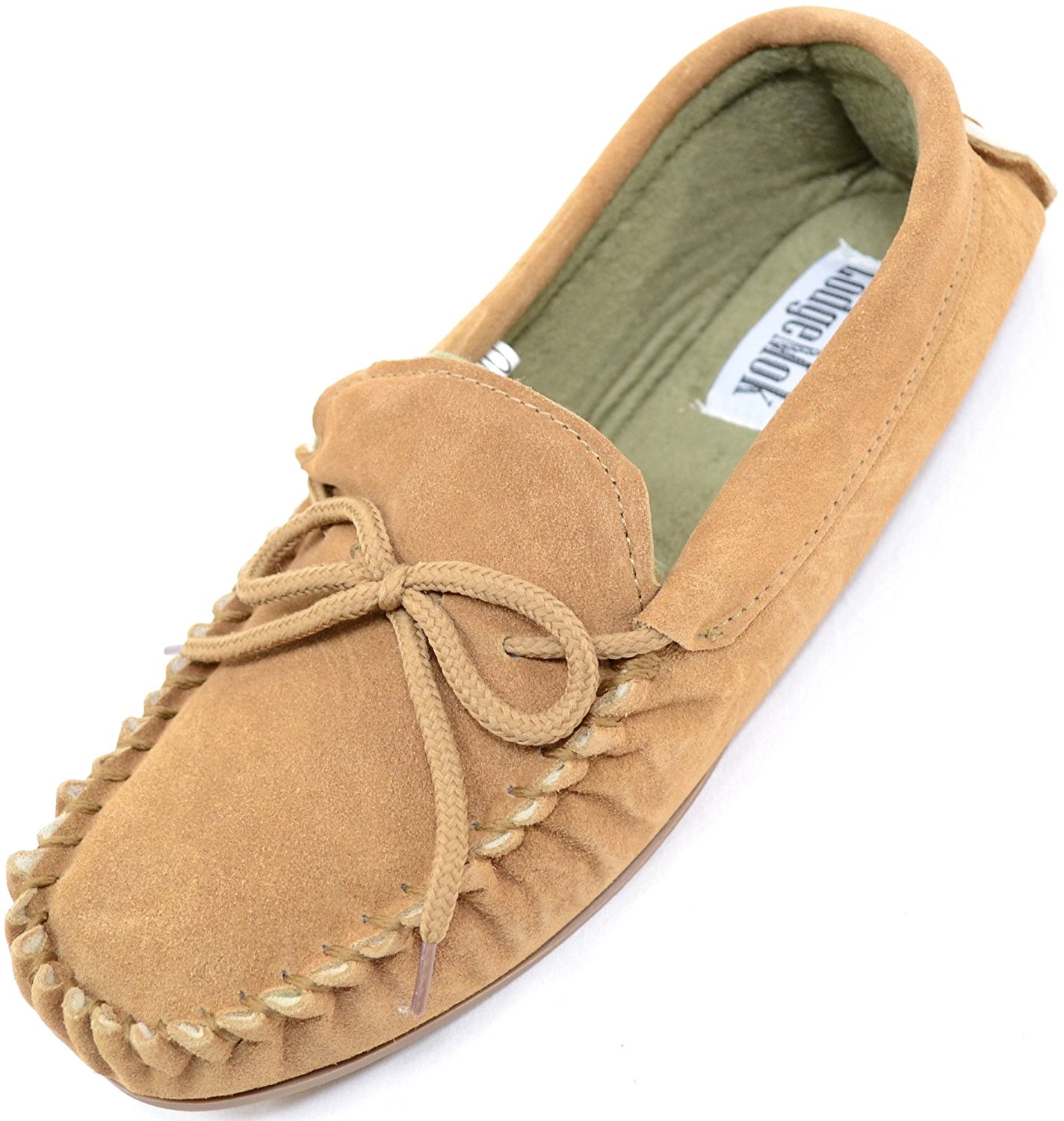 21683b09eaf Get Quotations · Mens Traditional Genuine Suede Leather Moccasin   Slippers  with Rubber Sole