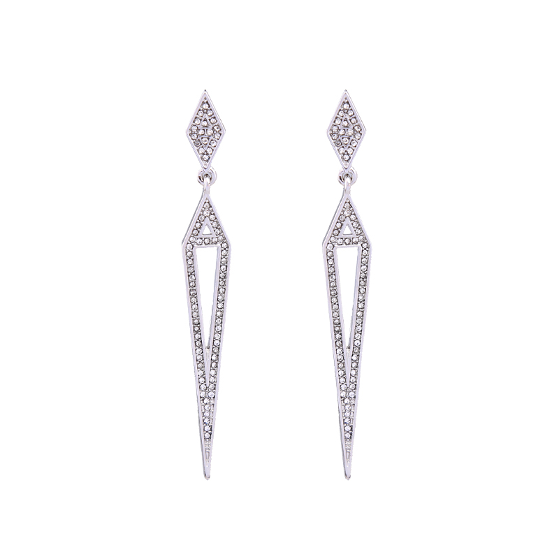 Clear Rhinestone Triangle Earrings Simple Fashion Drop Earrings Christmas <strong>Jewelry</strong>