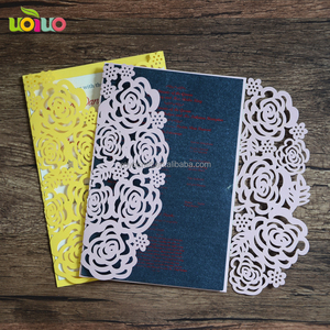 Laser cut decorative wedding paper supplies rose royal invitation cards with envelope and seals