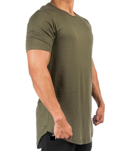 Wholesale High quality Scoop Bottom Round Neck Mens Longline T shirt